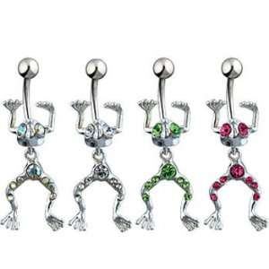 Navel ring with dangling movable frog, light green