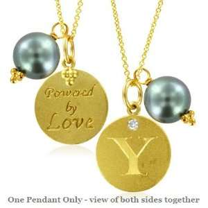 Natural Diamond Initial Y, LOVE LETTERS Pendant Pearl Charm in 18k