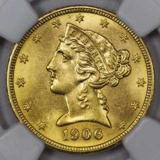 1906 $5 LIBERTY HEAD GOLD HALF EAGLE ~ NGC MS 62 ~ CHOICE UNCIRCULATED