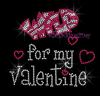 Wild for my Valentine   FUCHSIA Hearts Rhinestone Iron on Transfer Hot