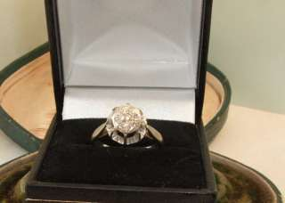 art deco 18ct gold antique natural diamond daisy platinum cluster