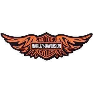 Harley Davidson Straight Wing Patch (Large) Orange