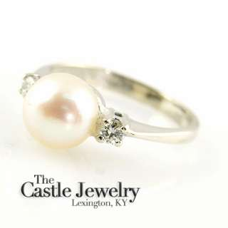 8MM PEARL & .10 CARAT DIAMOND RING 14K WHITE GOLD