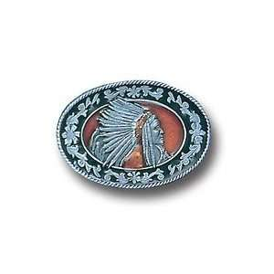 Pewter Belt Buckle   Indian with Headdress: Sports & Outdoors