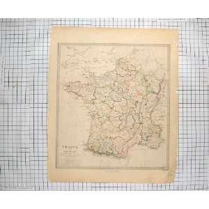 WALKER ANTIQUE MAP 1853 FRANCE GULF LYON BAY BISCAY
