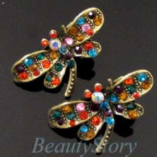 2 antiqued rhinestone crystal dragonfly hair clamp clip