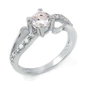 A3RZ0040) Sterling Silver Ring, Set with High Quality Cubic Zirconia
