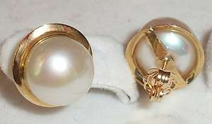 3G White Hawaiian Pearl Earring 14K Yellow Gold