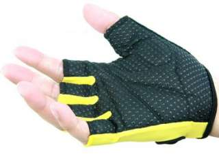 Cycling Bike Bicycle Wearable Sports Half Finger Gloves Yellow w/ Anti