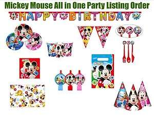 Mickey Minnie Mouse Club House Disney Birthday All in One Party Supply