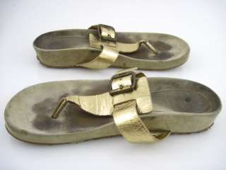 KORS MICHAEL KORS Beige Gold Straps Thongs Sandals Sz 7