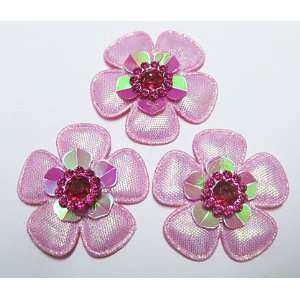 30pc Hot Pink Glitter Fabric Flowers Padded Appliques PA38