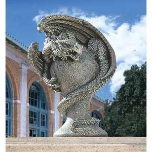 Medieval Menacing Mystic Dragon Statue. Gothic Home Yard Garden