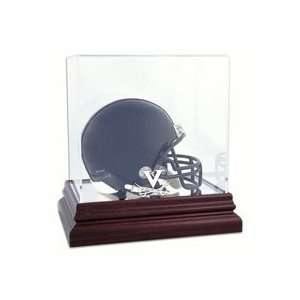Mini Football Helmet Display Case with Mahogany Finished