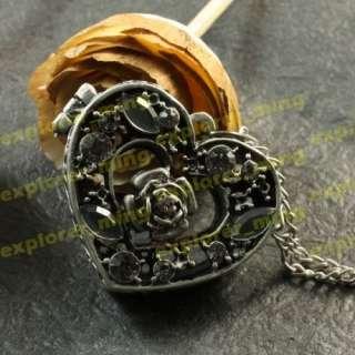 Antique Rose Heart Shape Locket Charms Necklace Pendant