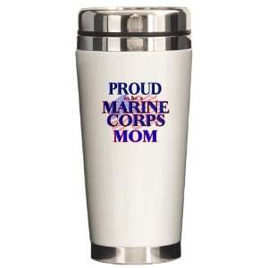 Marine Corps   Mom Military Ceramic Travel Mug by
