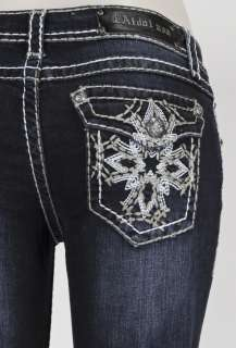 LA IDOL JEANS W/ WHITE STITCHING STAR DESIGN AND DETAILS SZ 0 15