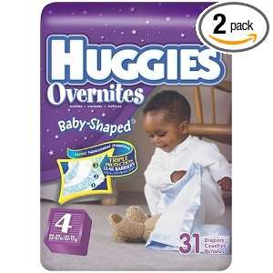 Huggies Overnites Diapers, Size 4, 31 Count (Pack of 2