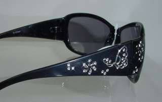 Designer Inspired Fashion BLACK Crystal Sunglasses NEW MINT UV400