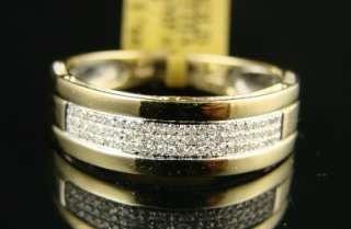 MENS 8 MM YELLOW GOLD WEDDING BAND DIAMOND RING .40 CT