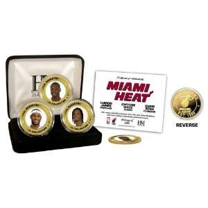 Miami Heat Big Three 24KT Gold & Color 3 Coin Set