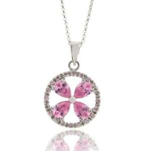 Sterling Silver Pink Flower CZ Round Pendant Jewelry