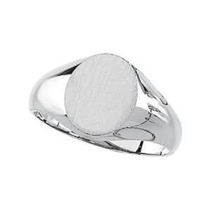 14K White Gold 10.00X08.00 MM Oval Signet Ring Jewelry