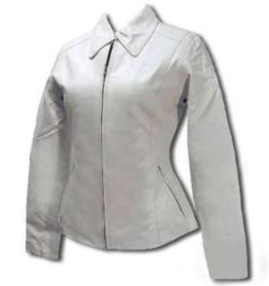WOMENS WHITE LEATHER JACKET MC625 LARGE