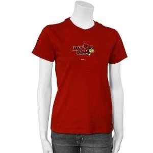Illinois State Redbirds Ladies Red Team Logo T shirt Sports