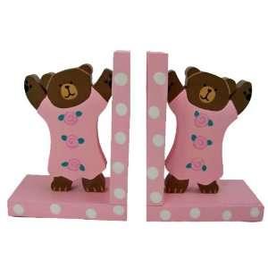 Tatutina Wood Adorable Baby Pink Teddy Bear Bookend Set