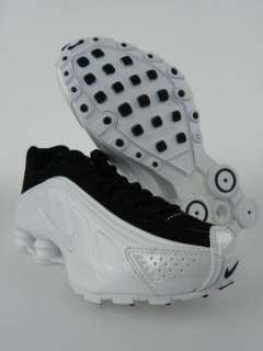NIKE JSHOX R4 GS NEW Boys Girls Youth White Black Running Shoes Size