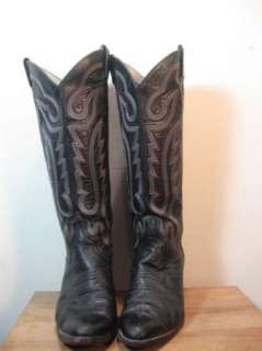 Vintage LARRY MAHAN Black Leather Cowboy Boots Tall Size 8 8.5