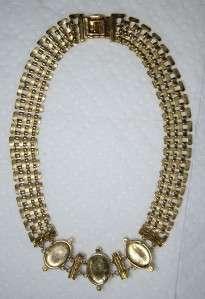 Vintage Italys Vogue Bijoux Gold Tone Rhinestone Faux Pearl Necklace