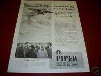 1942 Piper Cub Trainer Airplane Learn to Fly Ad