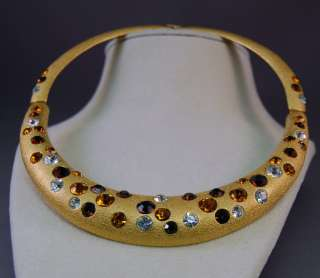 GORGEOUS Jackie Collins Rhinestone Gold Tone Collar Necklace RARE