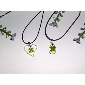 Two Lucky Clover Necklace with Real Four leaf Clover (1517