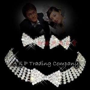 1022 Wedding/Bridal Clear Crystal Necklace Earrings Set