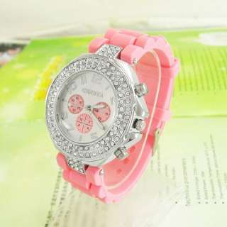 Pink Geneva Crystal Silicone Jelly Quartz Wrist Watch Ladies Women