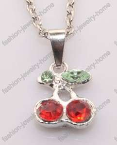 Fashion Lovely Little Red cherry crystal Necklace Pendant