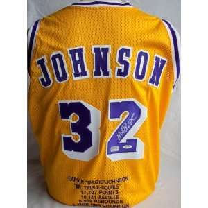 com Magic Johnson Autographed Jersey   Stat   Autographed NBA Jerseys
