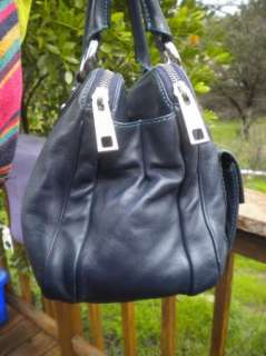 GORGEOUS Navy Blue Leather Fat Satchel Bag Made In ItalyPurse