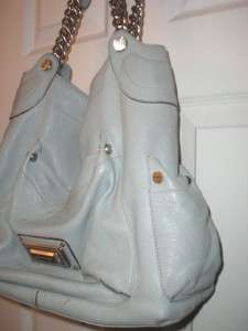 Makowsky Light Blue Leather Chain Handbag Bag Purse