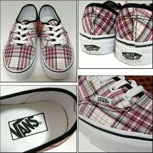 Vans Authentic Lewis Plaid Pink/Black Shoes New In Box