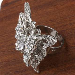 White Rhinestone Butterfly Fashion Ring #8 Adjustable