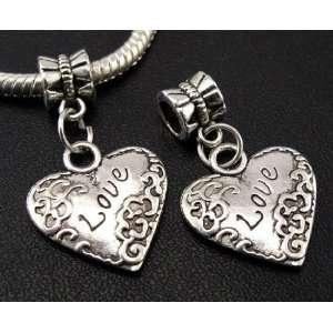 Silver Love Heart Dangle Charm Bead for Bracelet or