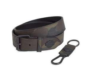 Mens Harley Davidson camo belt and key fob gift set 97997 12vm