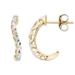 10K Yellow & White Gold Diamond Earrings Jewelry