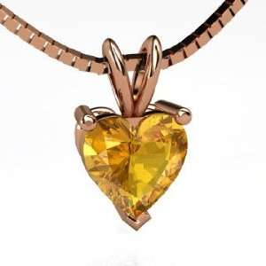 Brilliant Heart Pendant, Heart Citrine 14K Rose Gold Necklace Jewelry