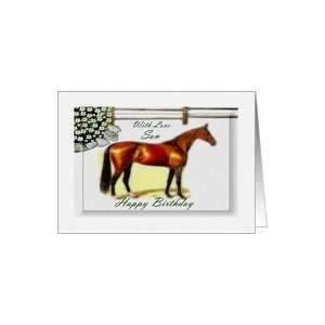 Birthday ~ Son ~ General ~ Brown Thoroughbred Horse Card: Toys & Games