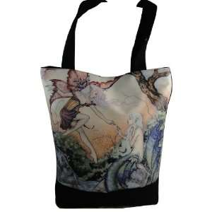 Mermaid Tote Bag with Zipper Pocket and Cell Phone Pouch by Amy Brown
